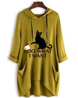Oversized Cat Ears Long Sleeves Pockets I Do What I Want Hooded Sweatshirt