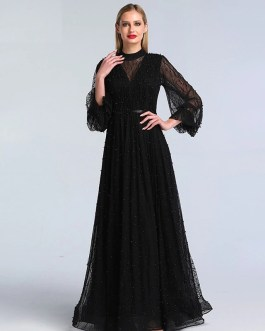 Pearls Tulle Long Sleeves Sexy Prom Gowns