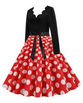 Polka Dot Scalloped Neckline Long Sleeves Swing Vintage Dress