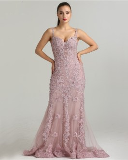 Sexy Spaghetti Straps Crystal Mermaid Evening Party Gowns