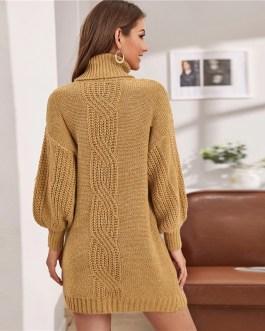 Turtleneck Without Belt Lantern Sleeve Short Sweater Dress