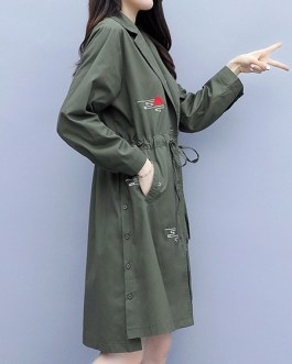V Neck Long Sleeves Buttons Animal Print Asymmetrical Casual Maxi Coat