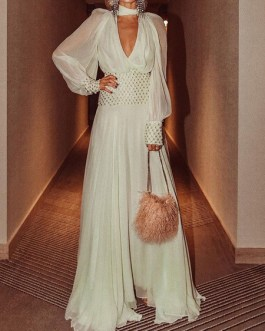 V-Neck Sequins Long Sleeves Layered Semi Formal Party Dress