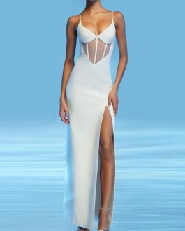V-Neck Split Front Sleeveless Layered Semi Formal Party Dresses