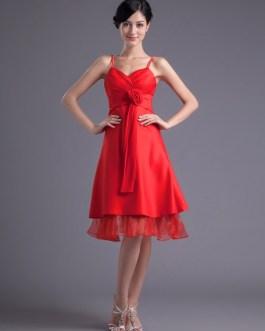 A-line Satin Floral Straps Knee-Length Fashion Bridesmaid Dress
