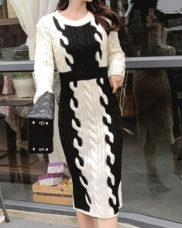 Charming Two Tone Split Front Jewel Neck Long Sleeves Knitted Dress