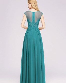 Chiffon A Line Illusion Neck Sleeveless Floor Length Wedding Party Prom Bridesmaid Dress