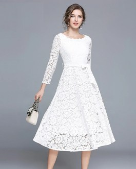 Elegant Lace Office Lady Evening Party Dress