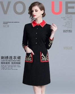 Fashion gold embroidered vintage dresses