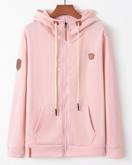 Full Zip Hoodies Long Sleeves Hooded Jacket With Pockets
