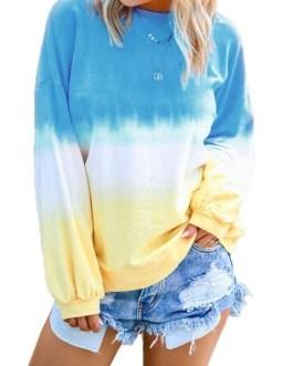 Outerwear Deep Blue Long Sleeves Ombre Sweatshirt