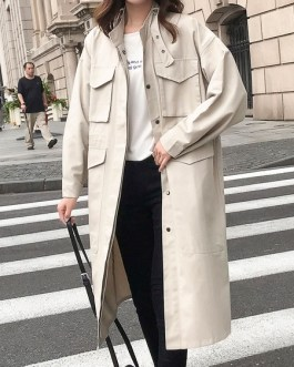 Oversized Trench Coat Turndown Collar Overcoat With Pockets