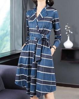 Plaid Coat Turndown Collar Wrap Coat Buttons Casual Coat