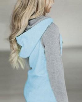 Pullover Hoodie Long Sleeve Two Tone Hooded Sweatshirt