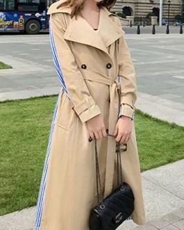 Trench Coat Stripes Patchwork Turndown Collar Pockets Oversized Wrap Coat