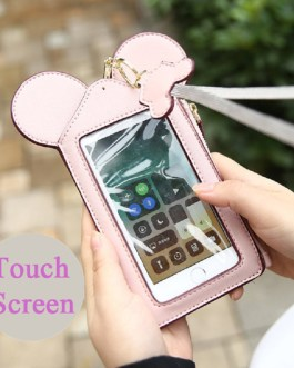 Women Touch Screen Cute Animal Shape Card Holder Phone Bag Coin Purse