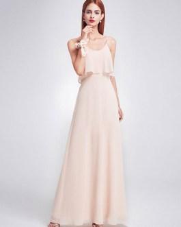 A Line Floor Length Zipper Chiffon Wedding Party Bridesmaid Dresses