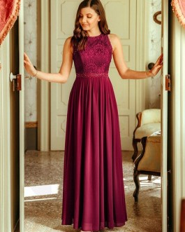 Bridesmaid Dress A Line Floor Length Backless Lace Prom Dress Formal Wedding Party Gown