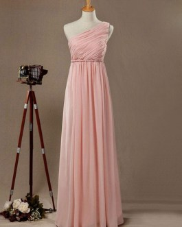 Bridesmaid Dresses Chiffon One Shoulder A Line Floor Length Wedding Party Dress