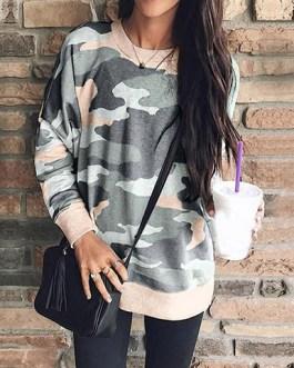 Feminine Crew-style Neckline Sweatshirt