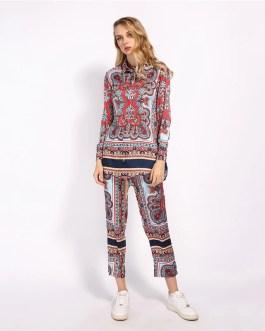Floral Long Blouse Ankle Length Vintage Streetwear Outfits Sets