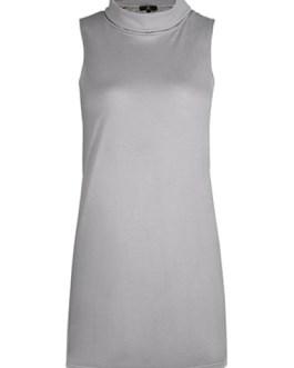 High Collar Casual Shift Dress