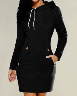 Hooded Long Sleeve Mini Dress