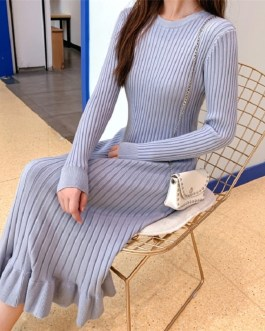 Knitted Empire Long Elegant Trumpet Solid Mermaid Sweater Dress