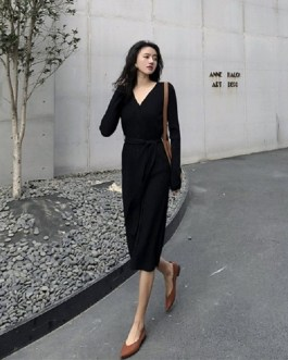Lace Up V-Neck Single Breated Sashes Casual Straight Sweater Dress