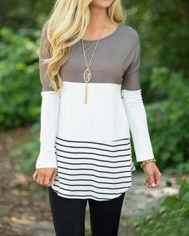 Long Sleeve Wide Round Neckline Blouse