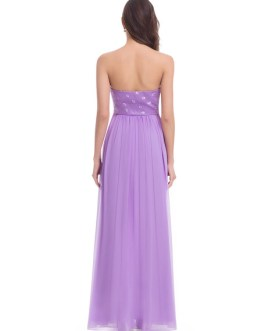 Long Strapless Sweetheart Chiffon Ruched A Line Floor Length Wedding Guest Bridesmaid Dresses