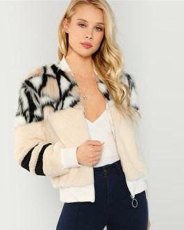 O-Ring Zip Up Stand Collar Faux Fur Glamorous Warm Coat