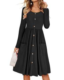 Pocketed Mid Length Dress
