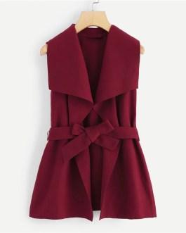 Solid Drape Collar Sleeveless Elegant Coat With Belt
