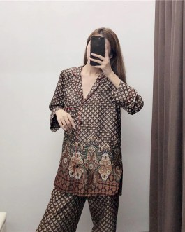 Totem Floral Geometry Blouse And Pajama Pants Sets