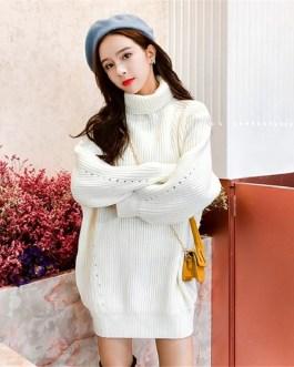 Turtleneck Minimalist Korean Style Loose Knitting Sweaters Dresses