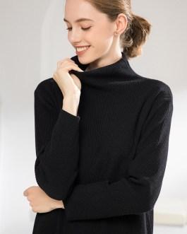 Turtleneck Slit Casual Straight Knitting Sweater Dresses