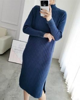 Turtleneck Straight Casual Slim Office Long Sweater Dress