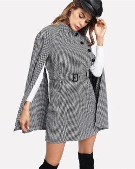 Vintage Plaid Self Belted Houndstooth Cloak Sleeve Cape Wool Blend Coat