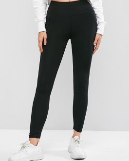 Casual Skinny Plain Stitching Sportwear Leggings
