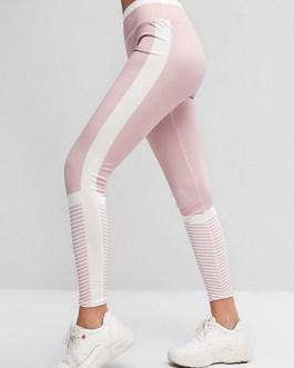 Color Block Pull Up Striped Elastic Gym Leggings