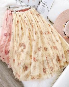 Elegant Printing High Waist Skirt