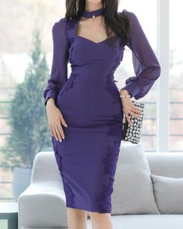 Long Sleeves Split Front Sexy V-Neck Layered Body Conscious Bodycon Dress