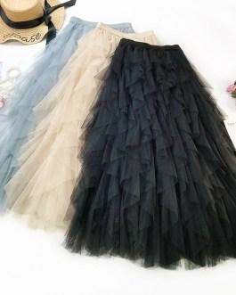 Luxury Ruffled Band Leaves Midi Skirt