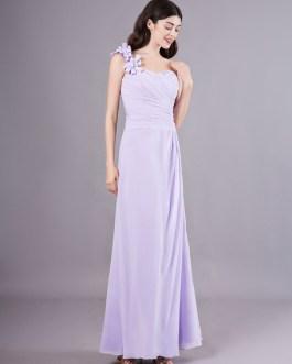 One Shoulder Chiffon Pleated Wedding Party Bridesmaid Dresses