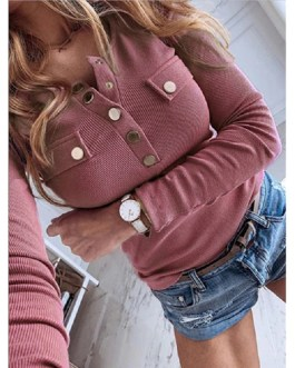 Plus Size V-neck Metal Buttons Long Sleeve Solid Ribbed Knitted Blouse