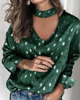 Sexy Hollow Out Polka Dot Print Long Sleeve Elegant Blouse