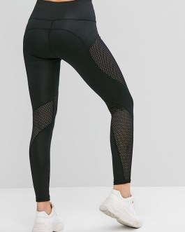 Solid Openwork High Waisted Casual Athletic Leggings