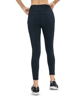 Solid Side Pocket Wide Belt Skinny Elastic Workout Leggings