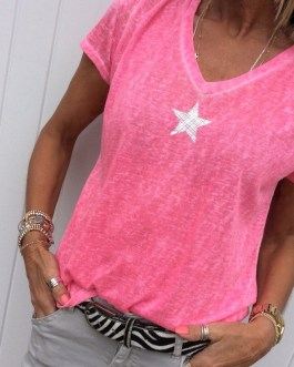 V-neck Fashion Five-pointed Star Short Sleeve Blouse